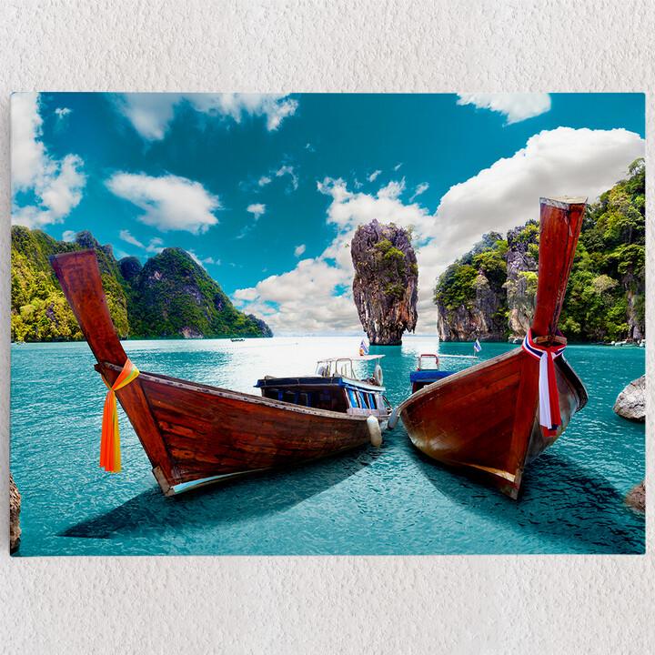 Personalisiertes Leinwandbild Boote vor Phuket - Thailand