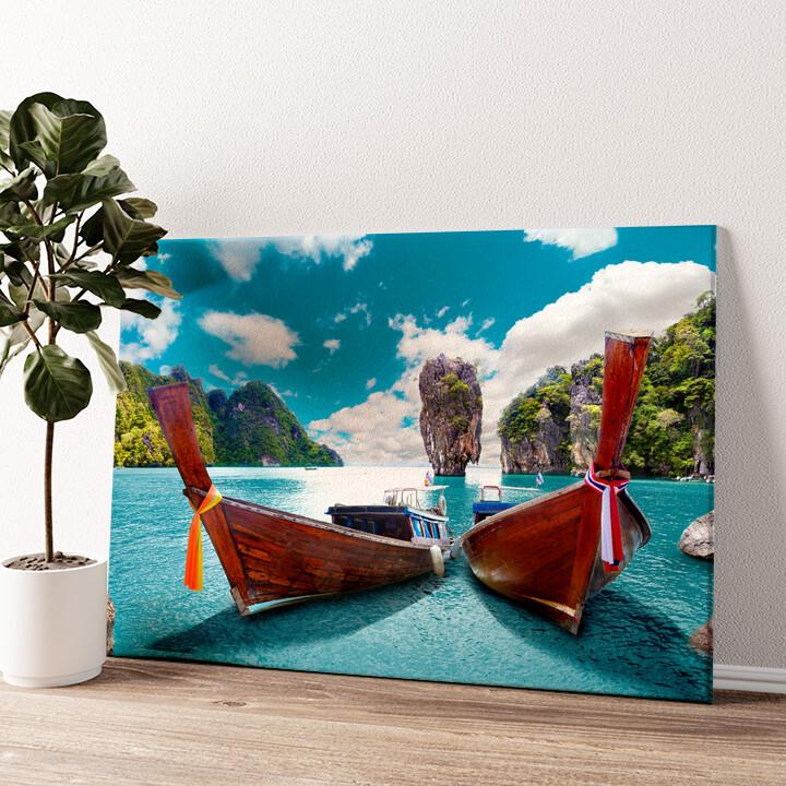 Boote vor Phuket - Thailand Wandbild personalisiert