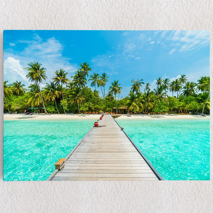 Personalisiertes Leinwandbild Malediven Steg