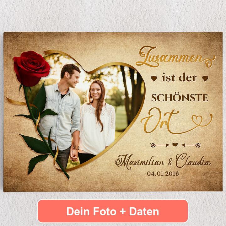 Personalisiertes Leinwandbild Liebestrunken