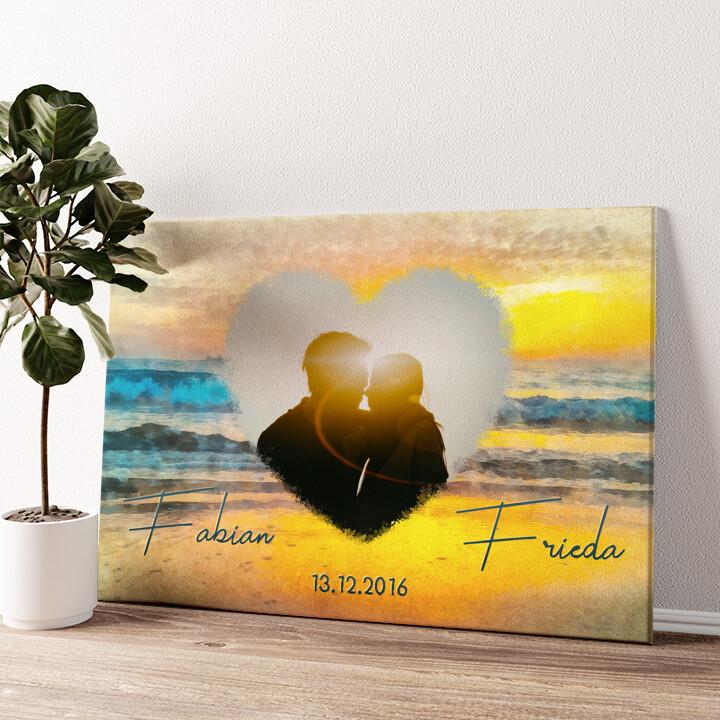 Romantischer Sonnenuntergang Wandbild personalisiert