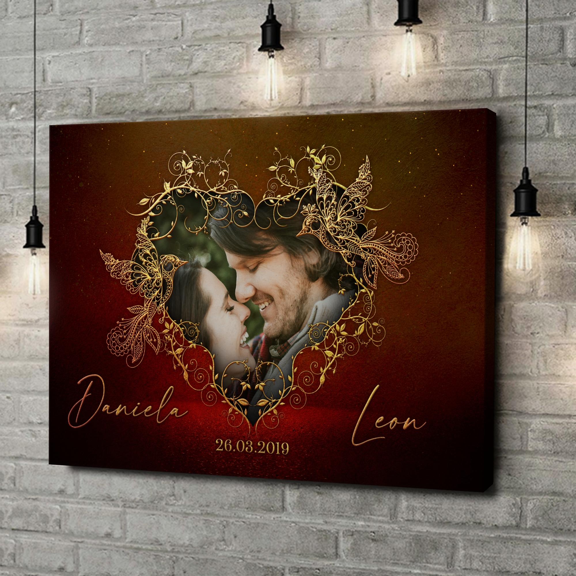 Leinwandbild personalisiert Gefiederte Liebe