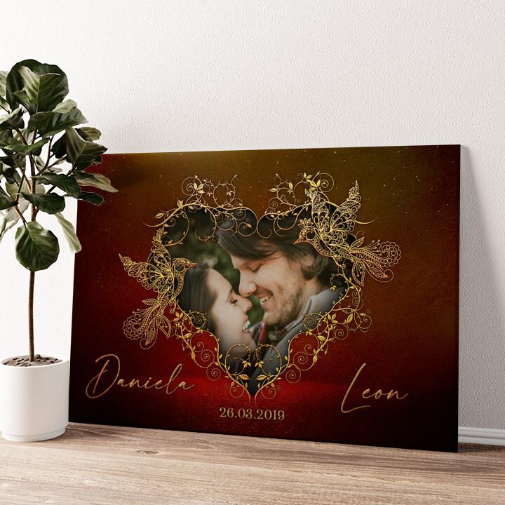 Gefiederte Liebe Wandbild personalisiert