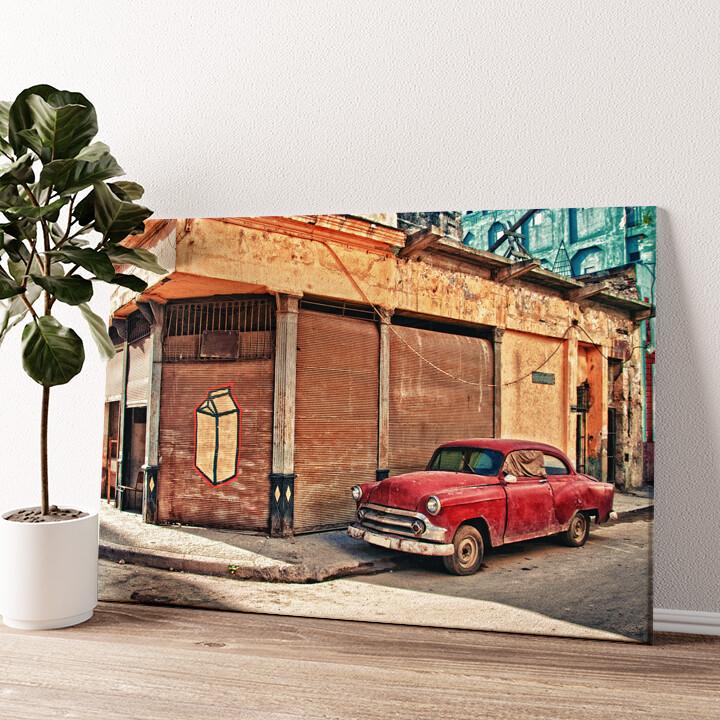 Oldtimer in Kuba Wandbild personalisiert