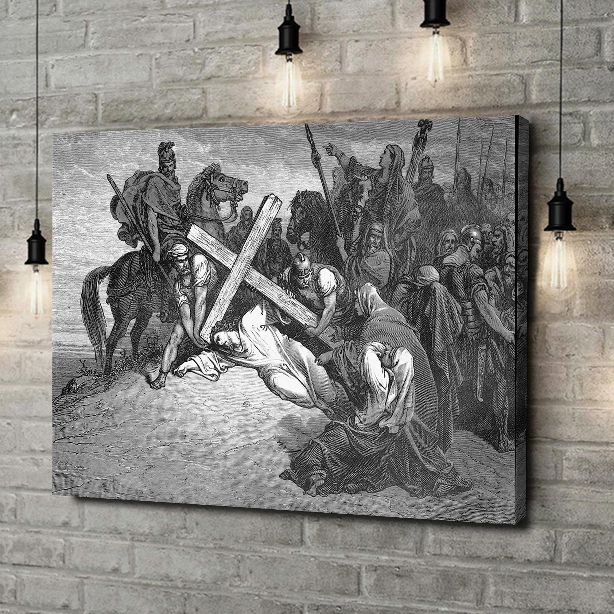 Leinwandbild personalisiert Jesus bricht unter dem Kreuz zusammen