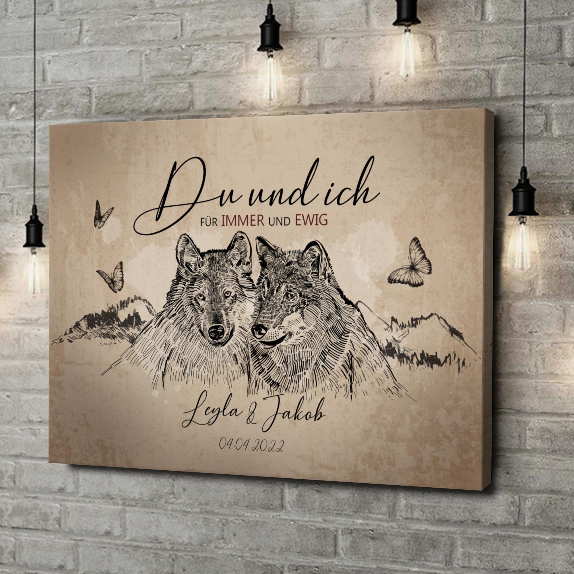 Leinwandbild personalisiert Wolfsromantik