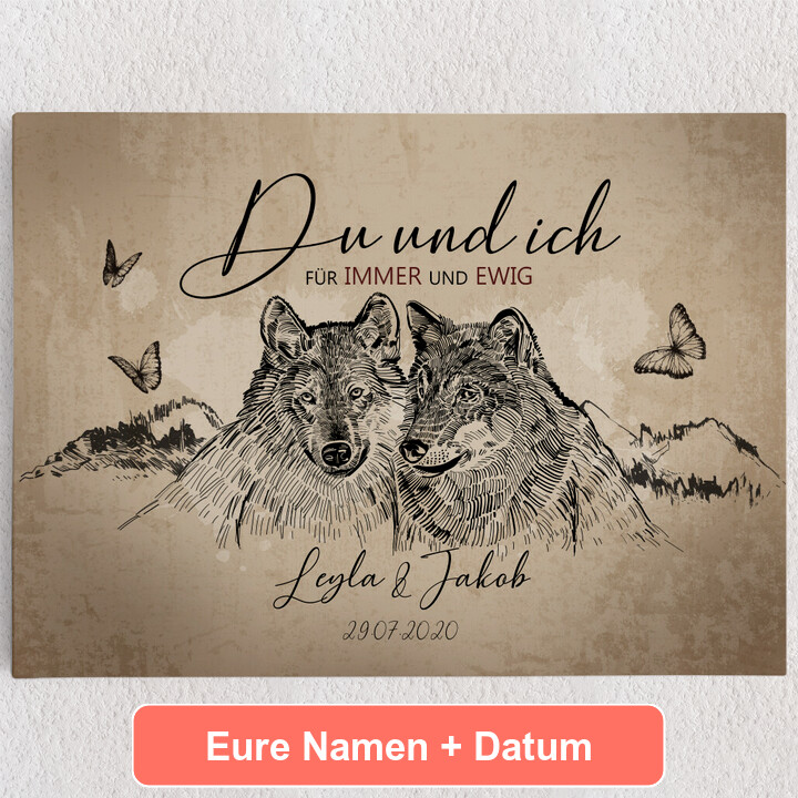 Personalisiertes Leinwandbild Wolfsromantik