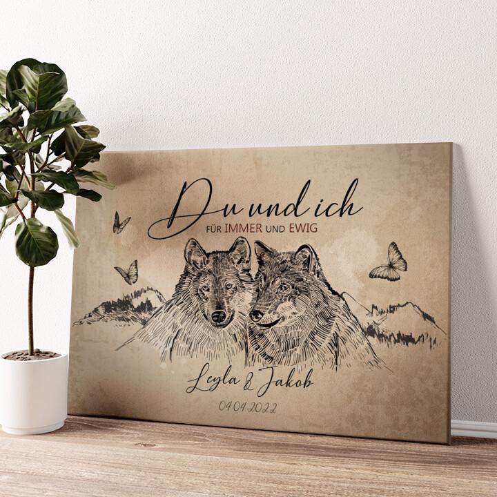 Wolfsromantik Wandbild personalisiert