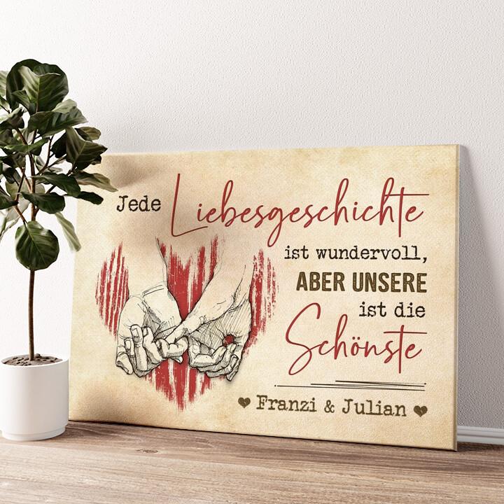 Liebesgeschichte Wandbild personalisiert