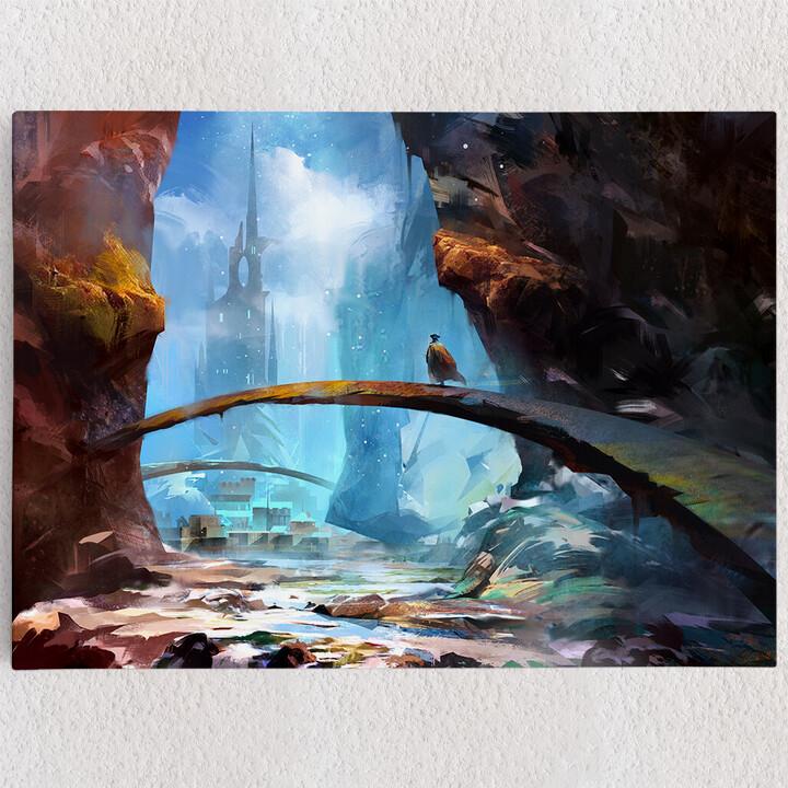 Personalisiertes Leinwandbild Fantasy Gebirge und Schloss