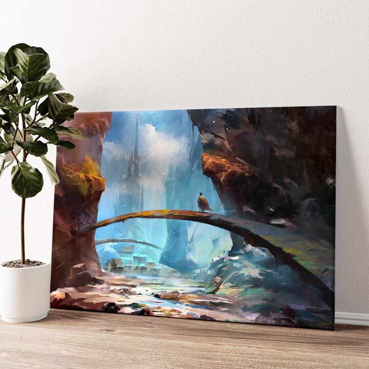Fantasy Gebirge und Schloss Wandbild personalisiert