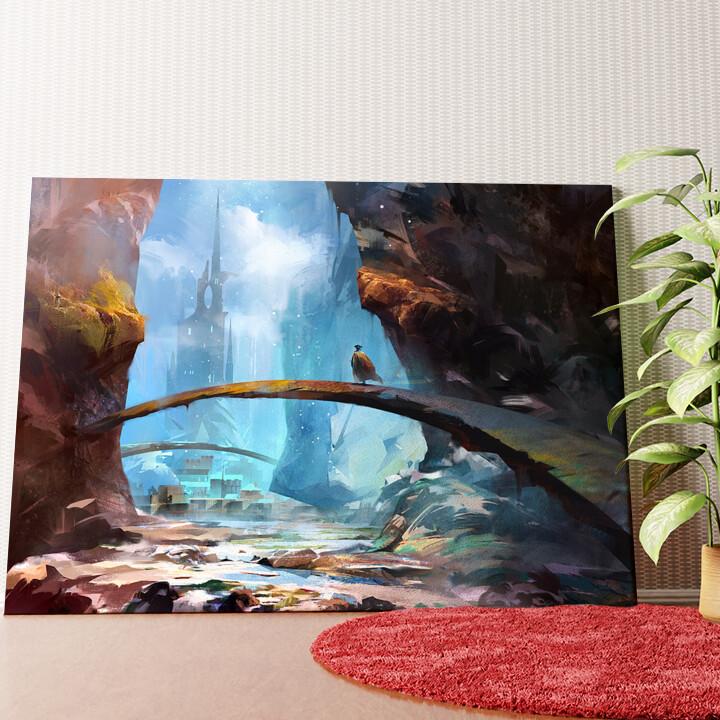 Personalisiertes Wandbild Fantasy Gebirge und Schloss