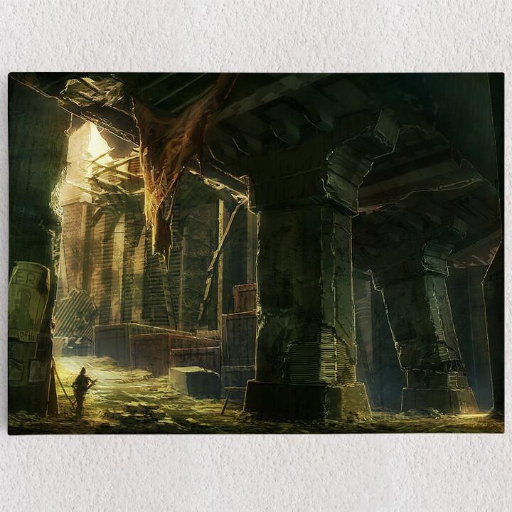 Personalisiertes Leinwandbild Fantasy zerstörte Stadt Endzeit