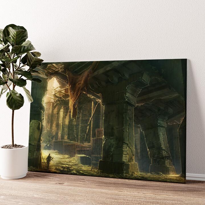 Fantasy zerstörte Stadt Endzeit Wandbild personalisiert