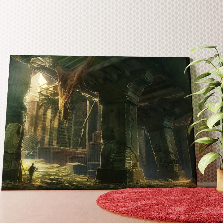 Personalisiertes Wandbild Fantasy zerstörte Stadt Endzeit