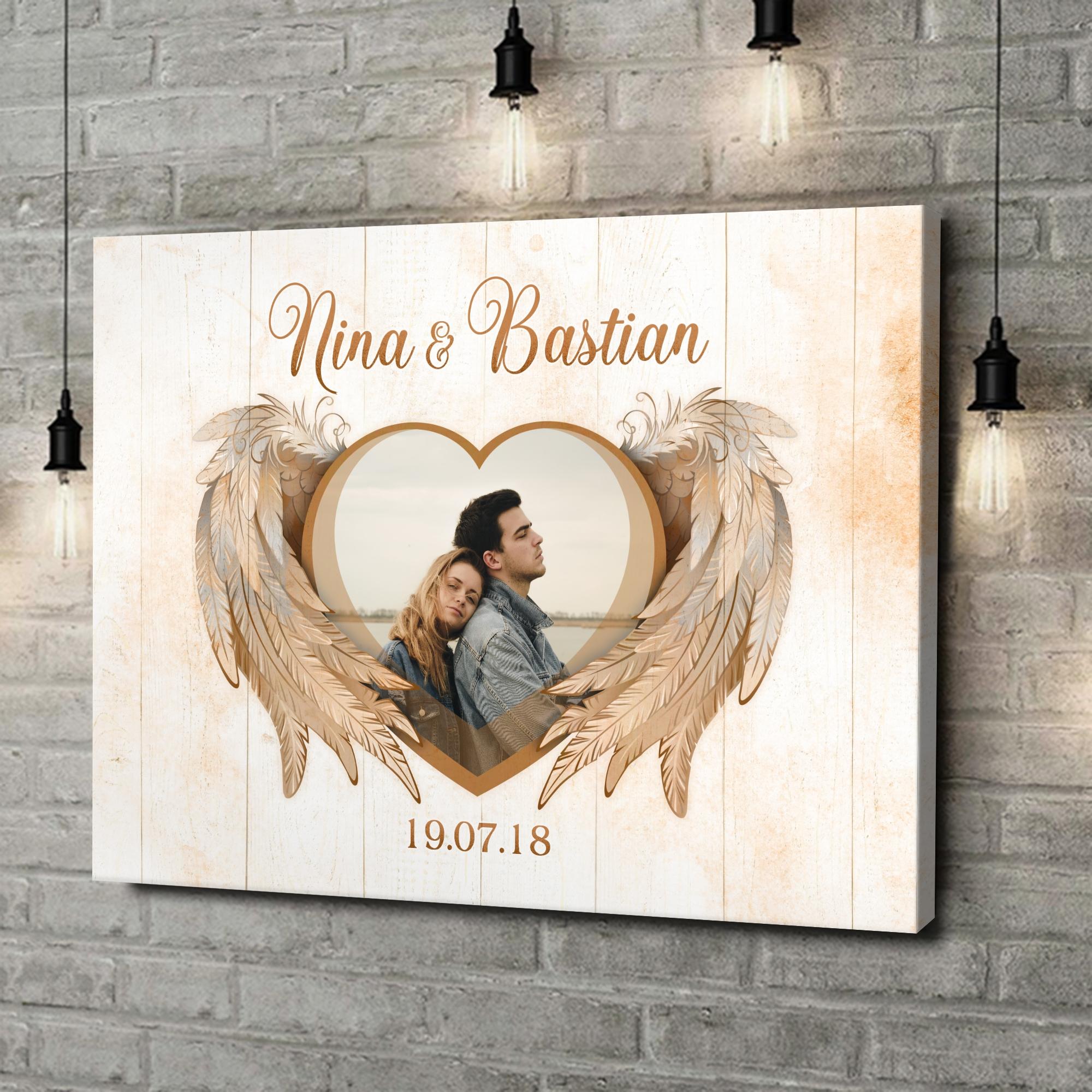 Leinwandbild personalisiert Flügel der Liebe