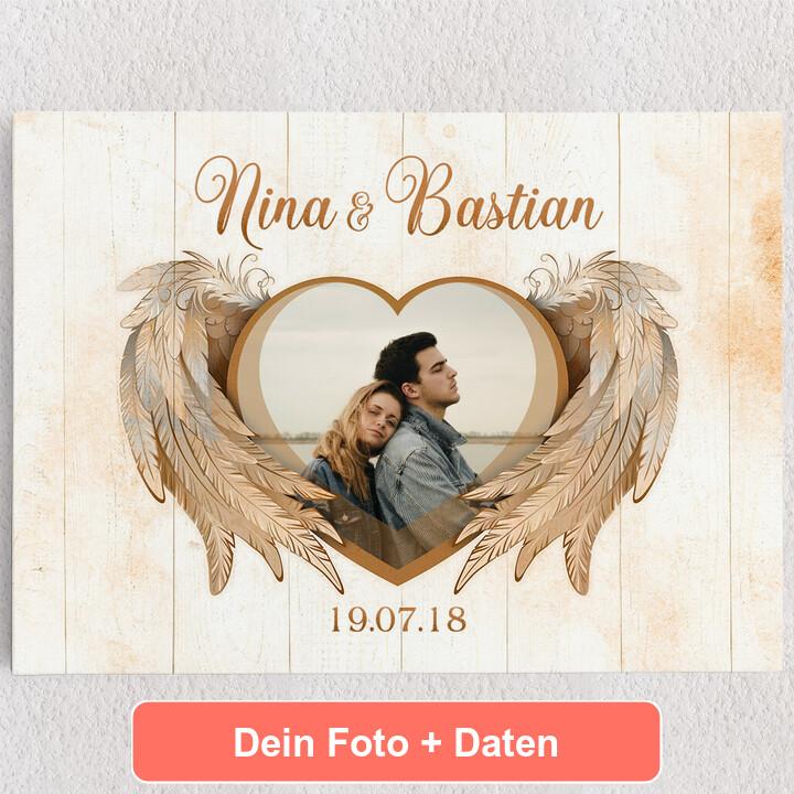Personalisiertes Leinwandbild Flügel der Liebe