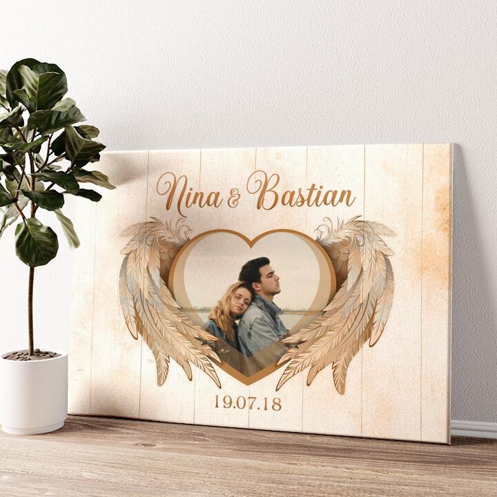 Flügel der Liebe Wandbild personalisiert