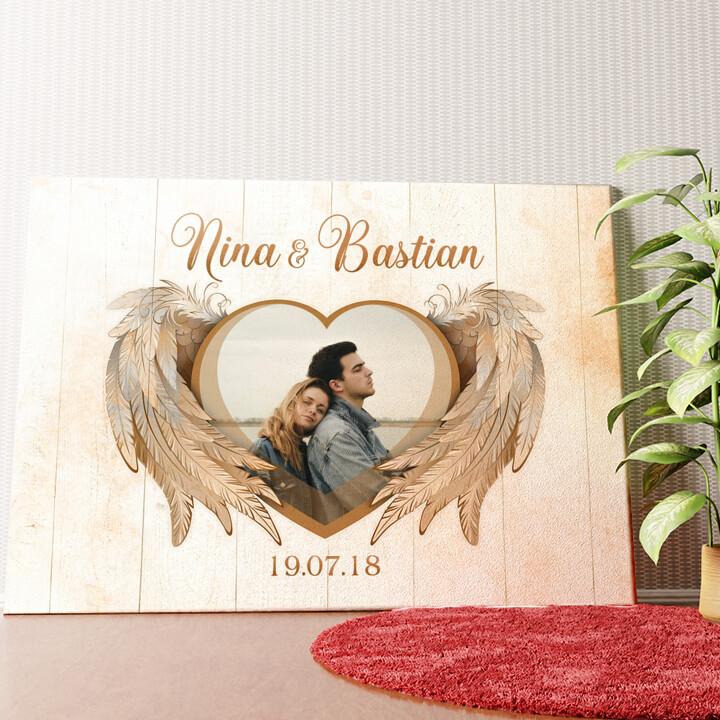 Personalisiertes Wandbild Flügel der Liebe