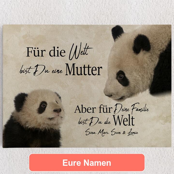 Personalisiertes Leinwandbild Pandamutter