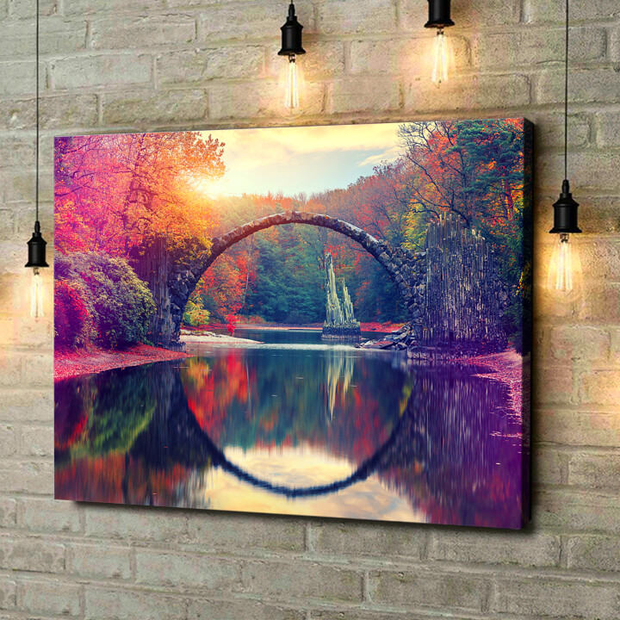 Leinwandbild personalisiert Rakotz Brücke Azalea und Rhododendron Park Kromlau