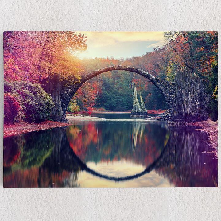 Personalisiertes Leinwandbild Rakotz Brücke Azalea und Rhododendron Park Kromlau
