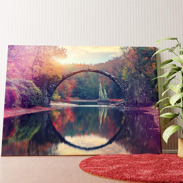 Personalisiertes Wandbild Rakotz Brücke Azalea und Rhododendron Park Kromlau