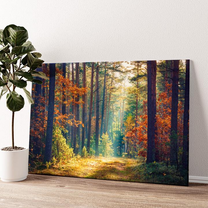 Herbstwald Wandbild personalisiert
