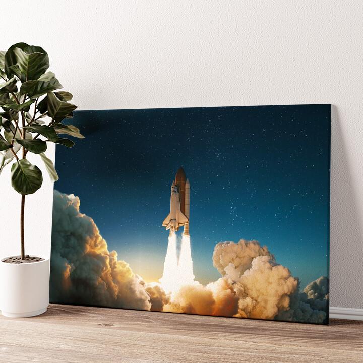 Space Shuttle Start Wandbild personalisiert