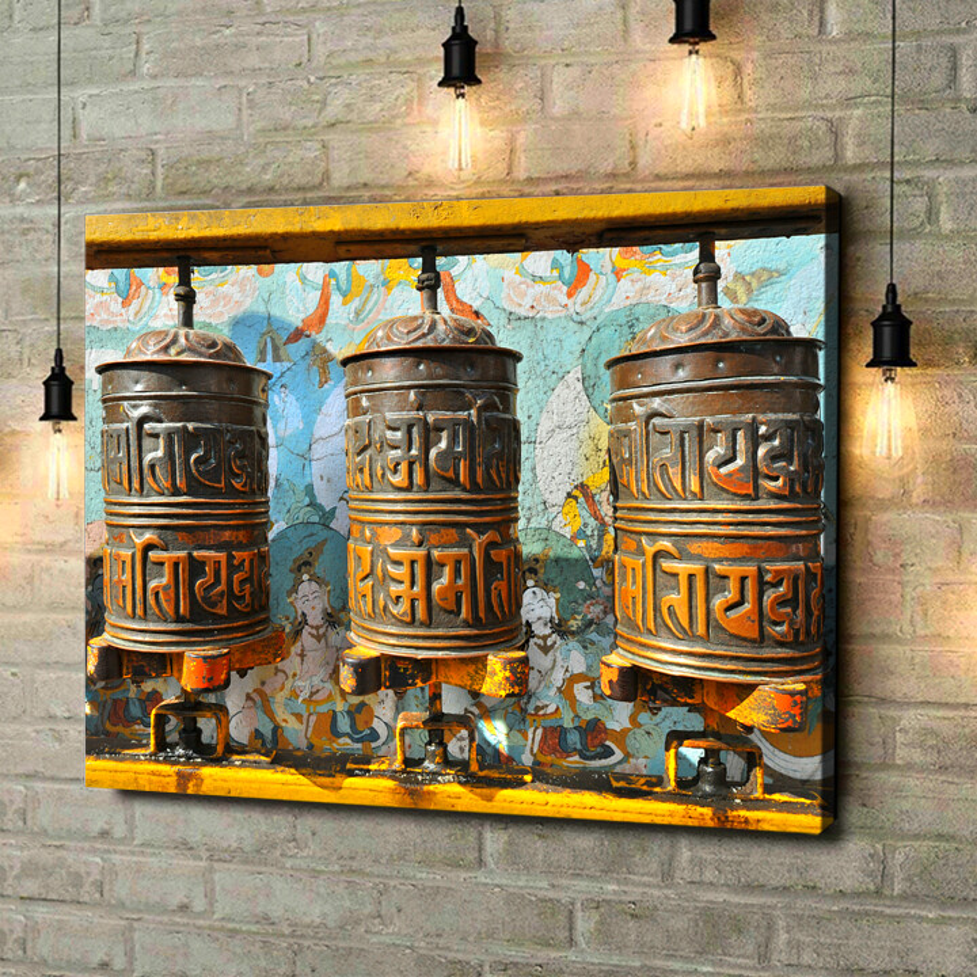 Leinwandbild personalisiert Gebetsmühlen Tibet