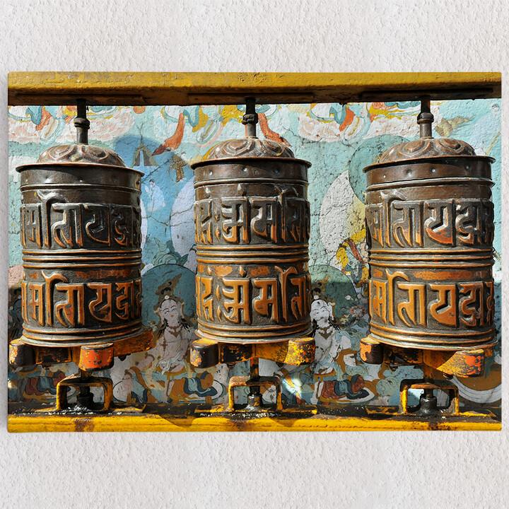 Personalisiertes Leinwandbild Gebetsmühlen Tibet