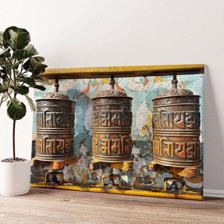 Gebetsmühlen Tibet Wandbild personalisiert