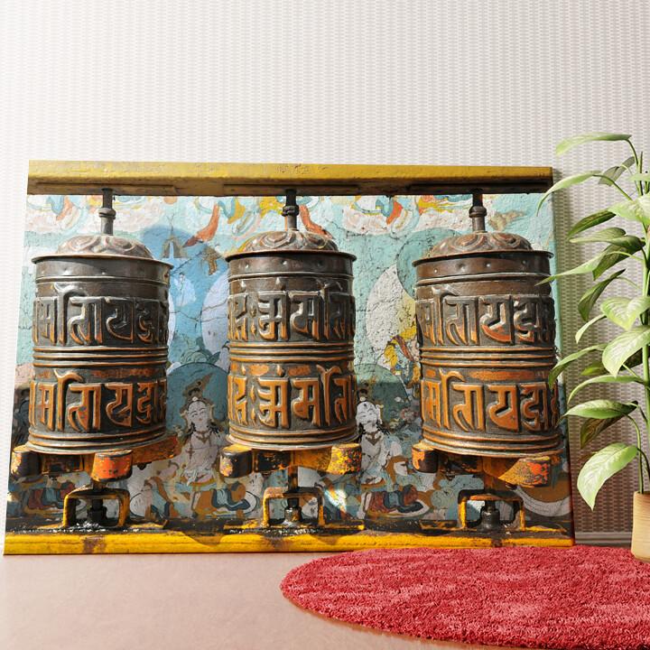 Personalisiertes Wandbild Gebetsmühlen Tibet