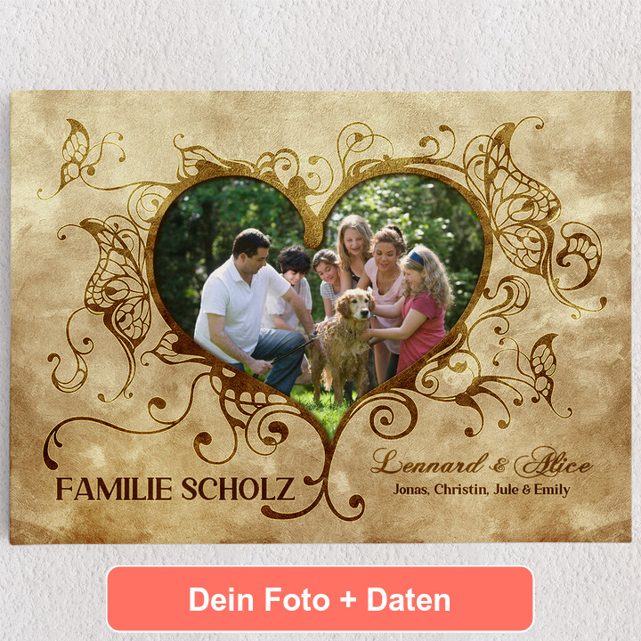 Personalisiertes Leinwandbild Im Herzen der Familie