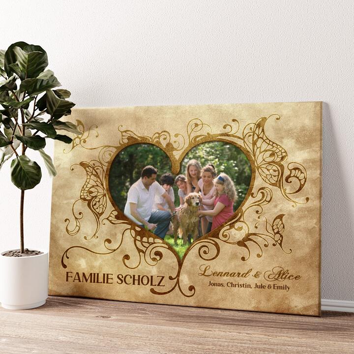 Im Herzen der Familie Wandbild personalisiert