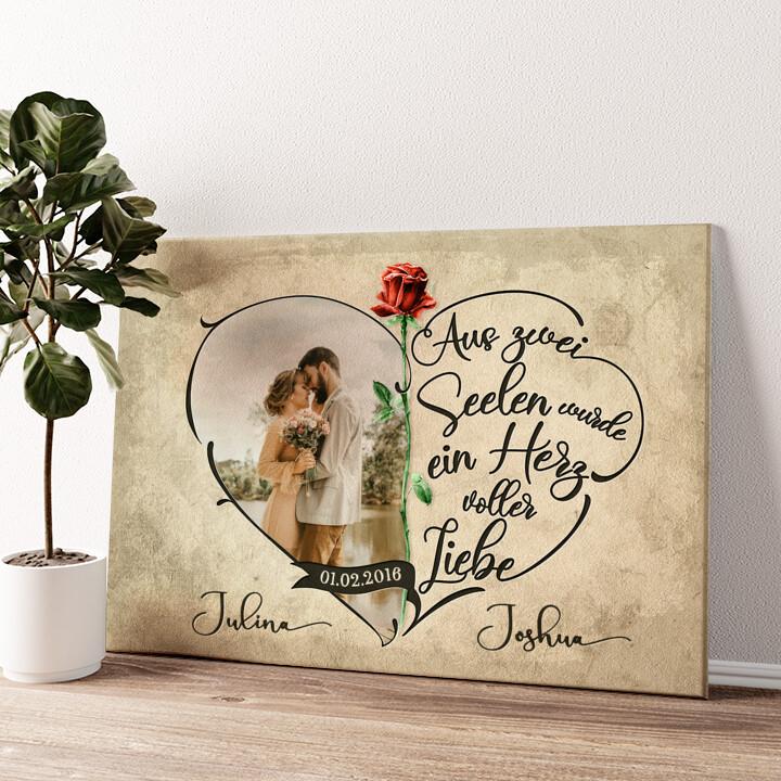 Herz voller Liebe Wandbild personalisiert