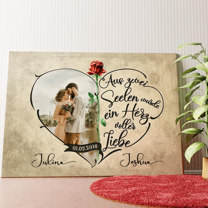 Personalisiertes Wandbild Herz voller Liebe