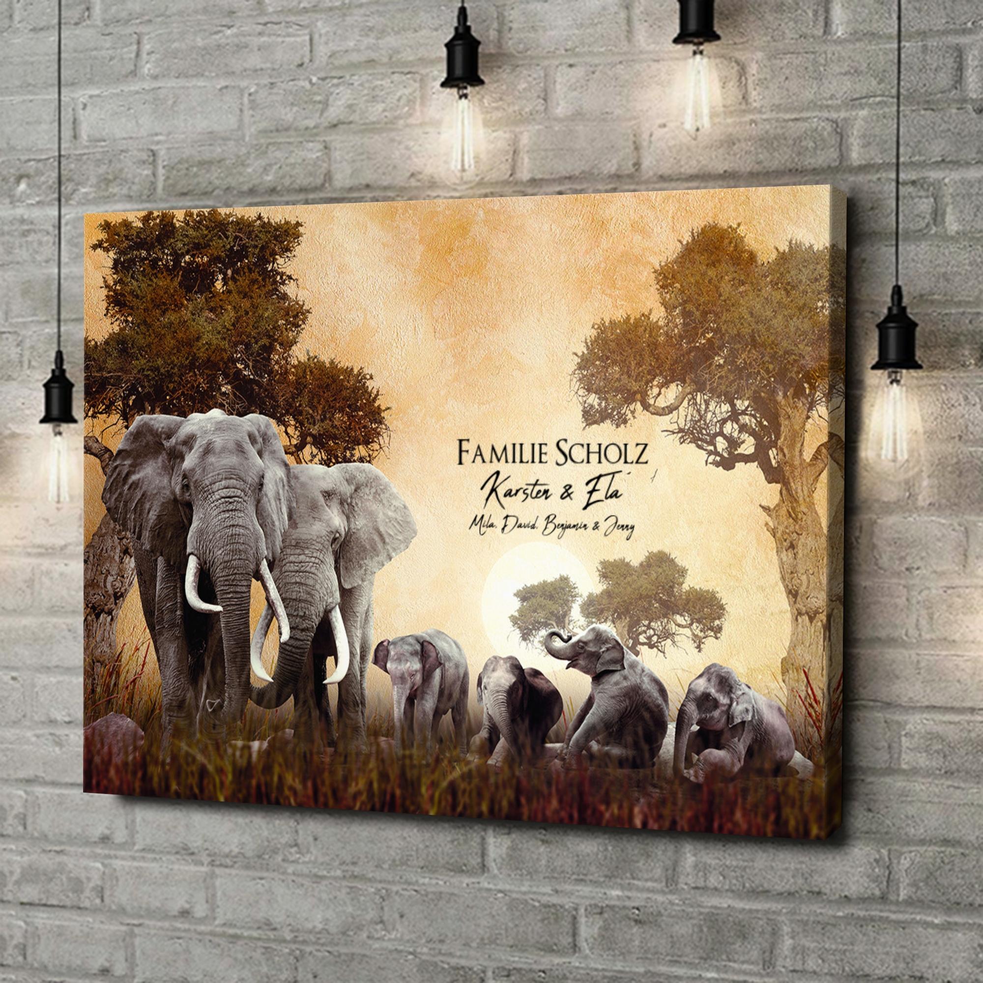 Leinwandbild personalisiert Elefantenfamilie