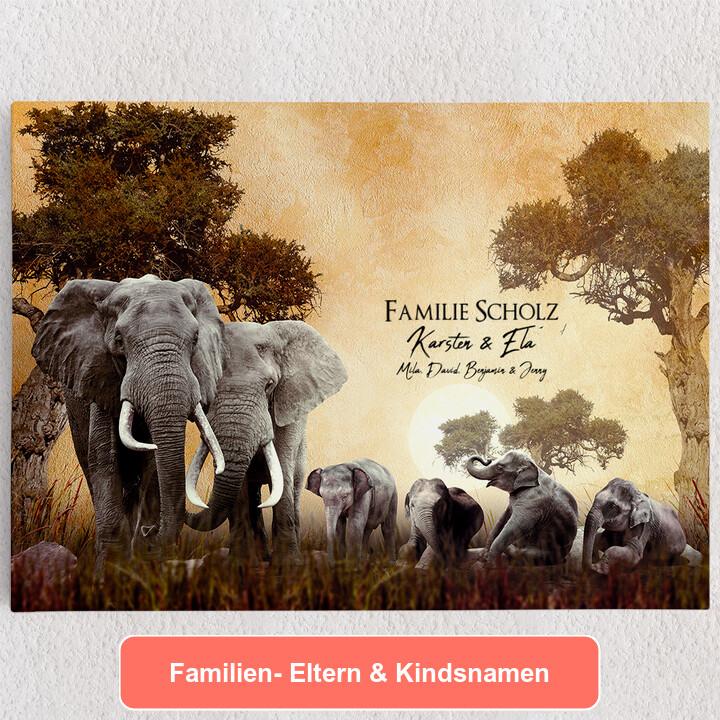 Personalisiertes Leinwandbild Elefantenfamilie