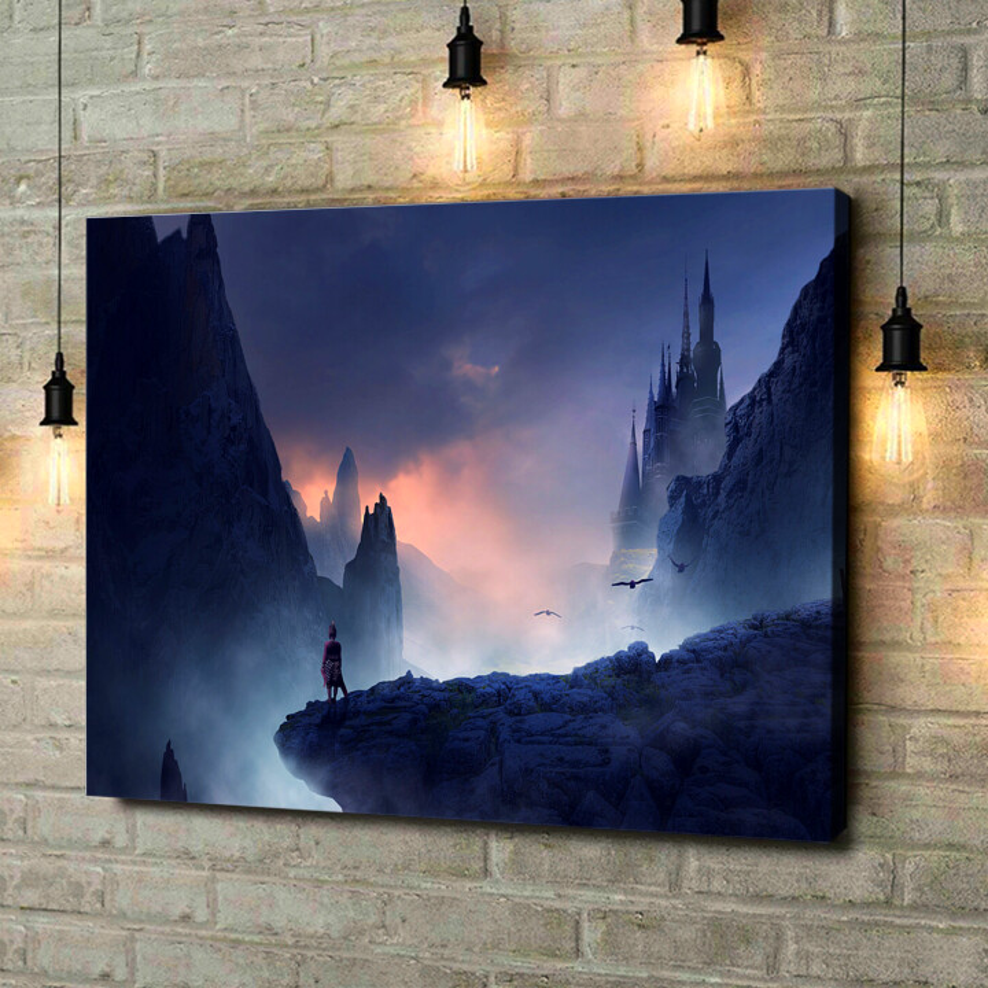 Leinwandbild personalisiert Fantasy Gebirge