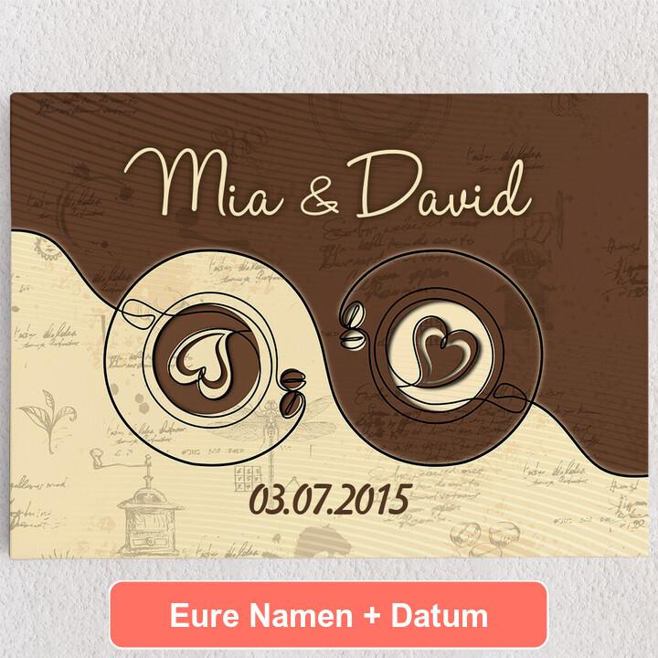 Personalisiertes Leinwandbild Kaffee für zwei