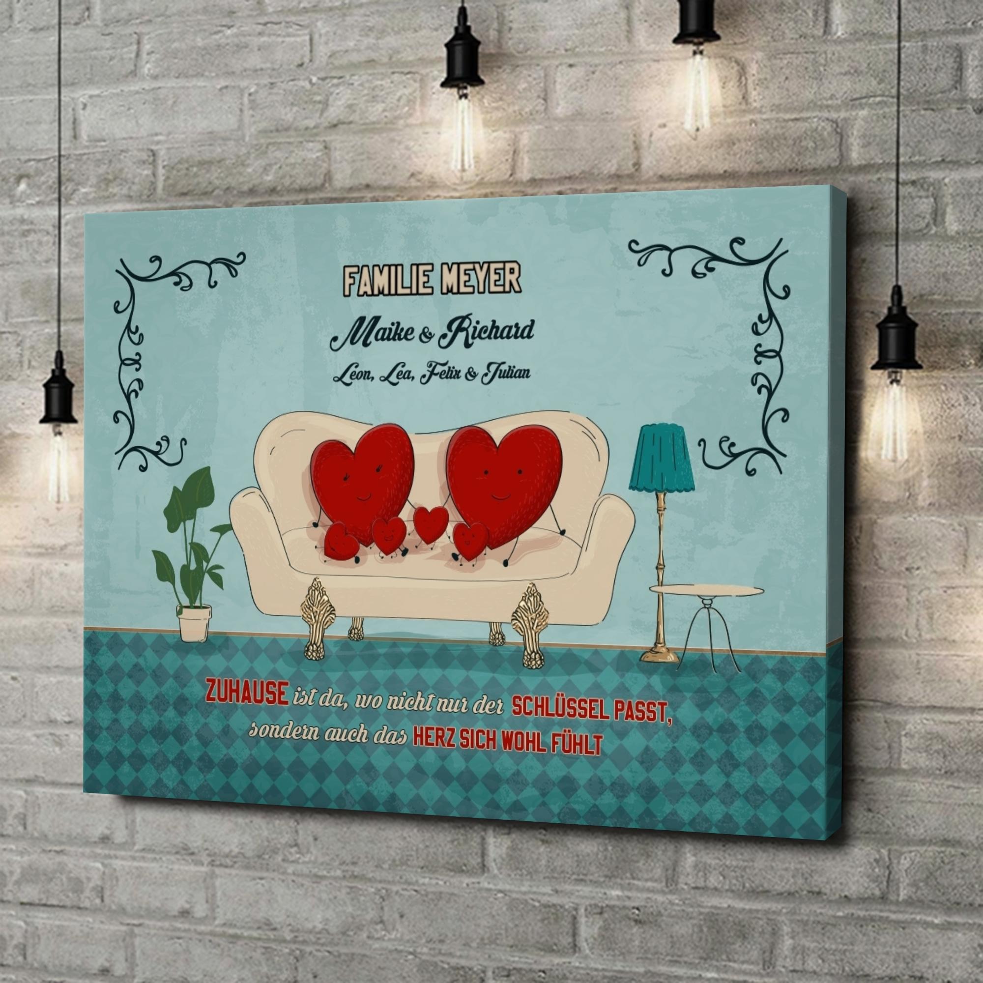 Leinwandbild personalisiert Zuhause mit Herz