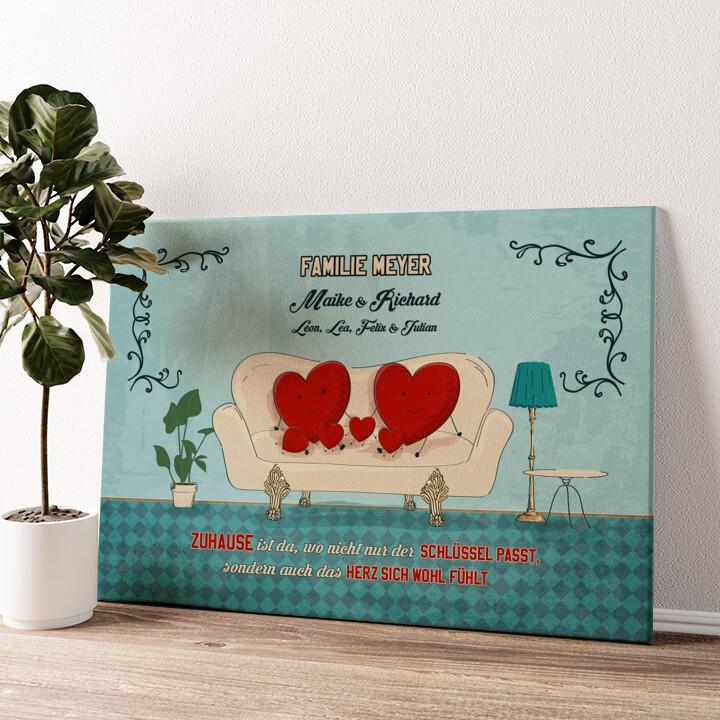Zuhause mit Herz Wandbild personalisiert