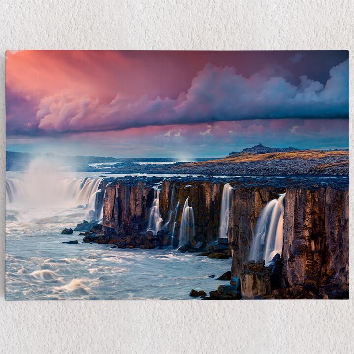 Personalisiertes Leinwandbild Jokulsa Fjollum Wasserfall Island