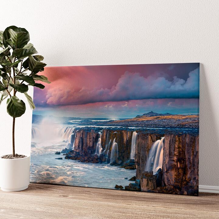 Jokulsa Fjollum Wasserfall Island Wandbild personalisiert