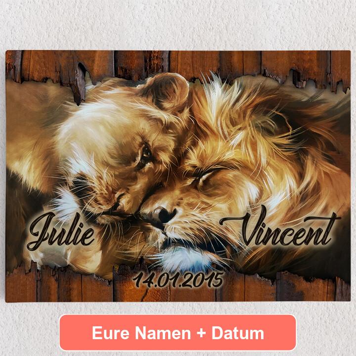 Personalisiertes Leinwandbild Löwenherz