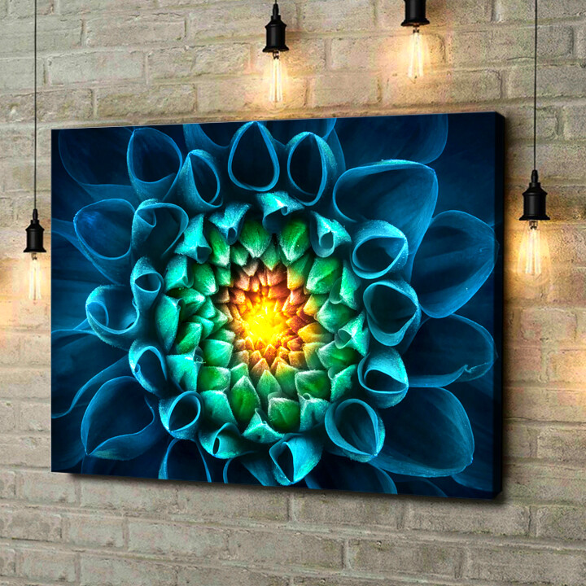 Leinwandbild personalisiert Blaugrüne Chrysantheme