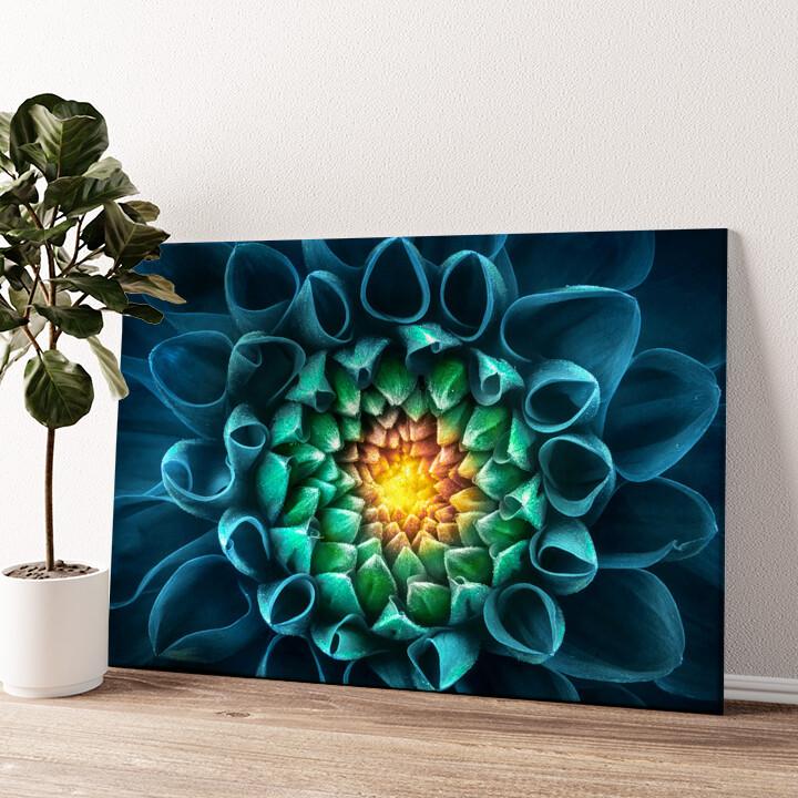 Blaugrüne Chrysantheme Wandbild personalisiert