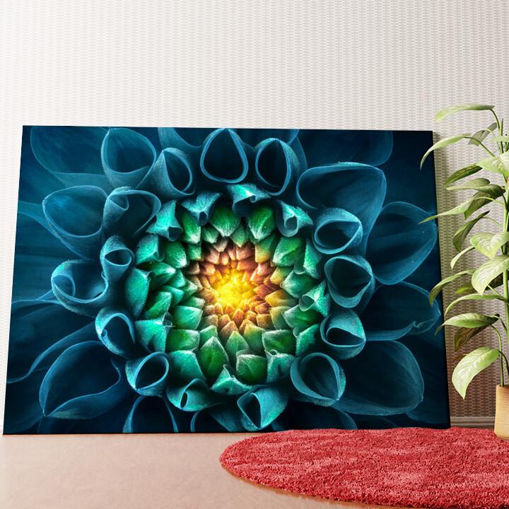 Personalisiertes Wandbild Blaugrüne Chrysantheme