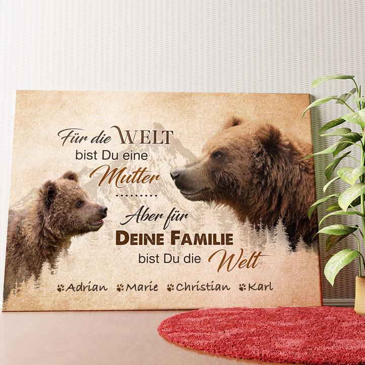 Personalisiertes Wandbild Bärenmutter